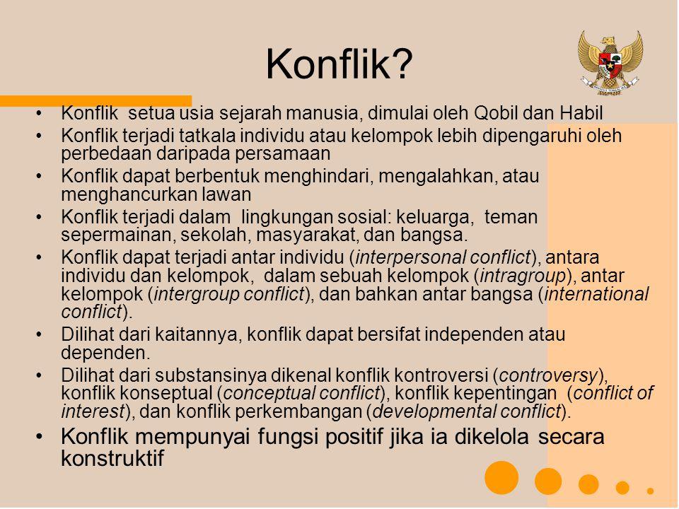 SUMBER KONFLIK (JEONG, 2000) Hipotesis frustrasi-agresi.