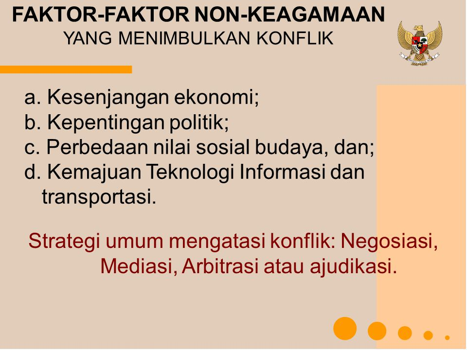 a. Kesenjangan ekonomi; b. Kepentingan politik; c. Perbedaan nilai sosial budaya, dan; d. Kemajuan Teknologi Informasi dan transportasi. FAKTOR-FAKTOR