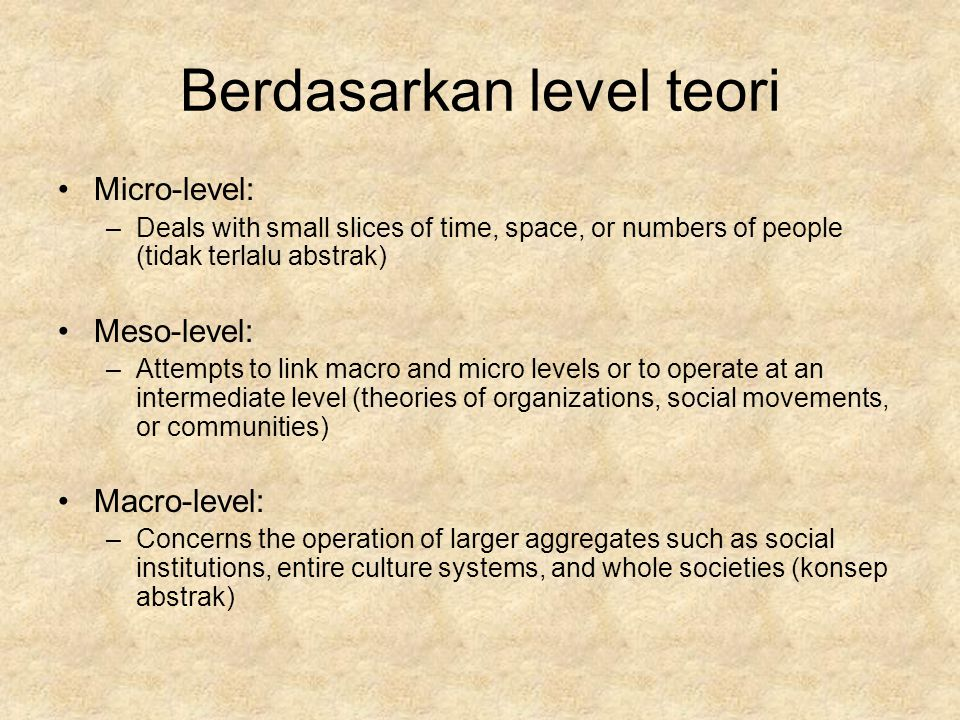 Berdasarkan level teori Micro-level: –Deals with small slices of time, space, or numbers of people (tidak terlalu abstrak) Meso-level: –Attempts to li