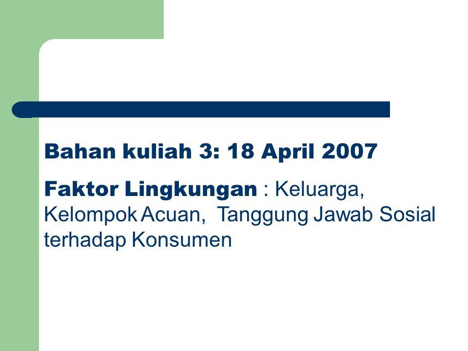 Bahan kuliah 3: 18 April 2007 Faktor Lingkungan : Keluarga, Kelompok Acuan, Tanggung Jawab Sosial terhadap Konsumen