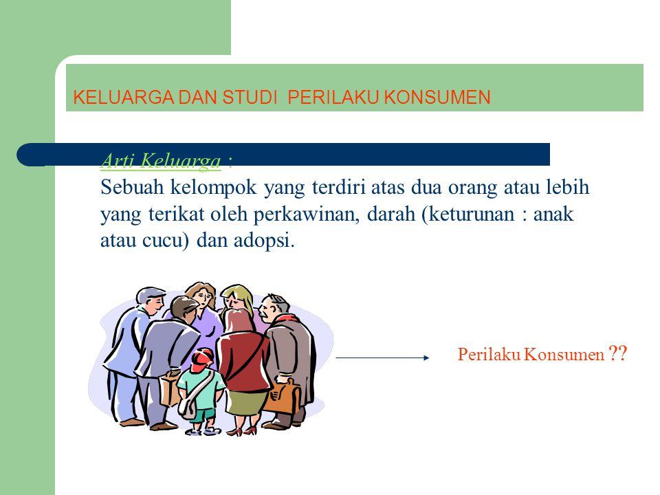 KELUARGA DAN STUDI PERILAKU KONSUMEN Perilaku Konsumen ?? Arti Keluarga : Sebuah kelompok yang terdiri atas dua orang atau lebih yang terikat oleh per