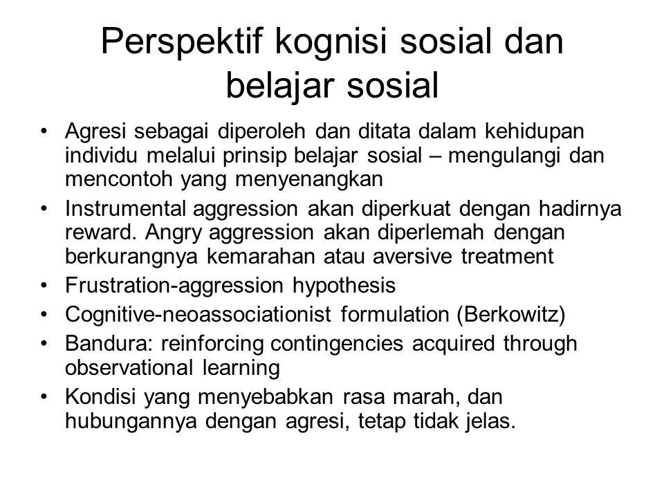 Perspektif kognisi sosial dan belajar sosial Agresi sebagai diperoleh dan ditata dalam kehidupan individu melalui prinsip belajar sosial – mengulangi