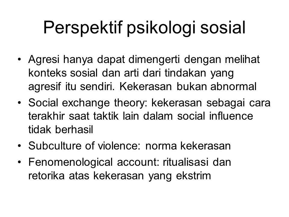 Perspektif psikologi sosial Agresi hanya dapat dimengerti dengan melihat konteks sosial dan arti dari tindakan yang agresif itu sendiri. Kekerasan buk