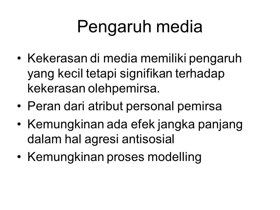 Pengaruh media Kekerasan di media memiliki pengaruh yang kecil tetapi signifikan terhadap kekerasan olehpemirsa. Peran dari atribut personal pemirsa K