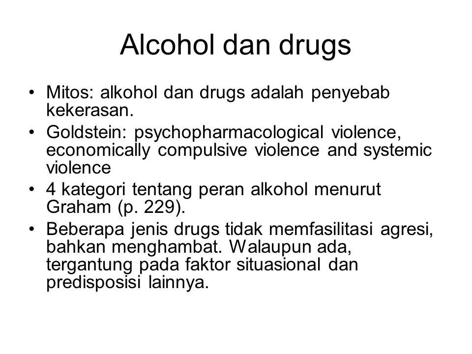 Alcohol dan drugs Mitos: alkohol dan drugs adalah penyebab kekerasan. Goldstein: psychopharmacological violence, economically compulsive violence and