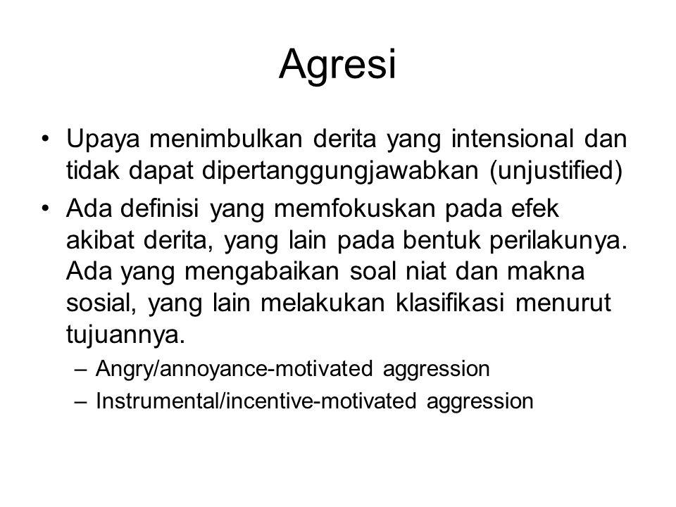 Agresi Upaya menimbulkan derita yang intensional dan tidak dapat dipertanggungjawabkan (unjustified) Ada definisi yang memfokuskan pada efek akibat de