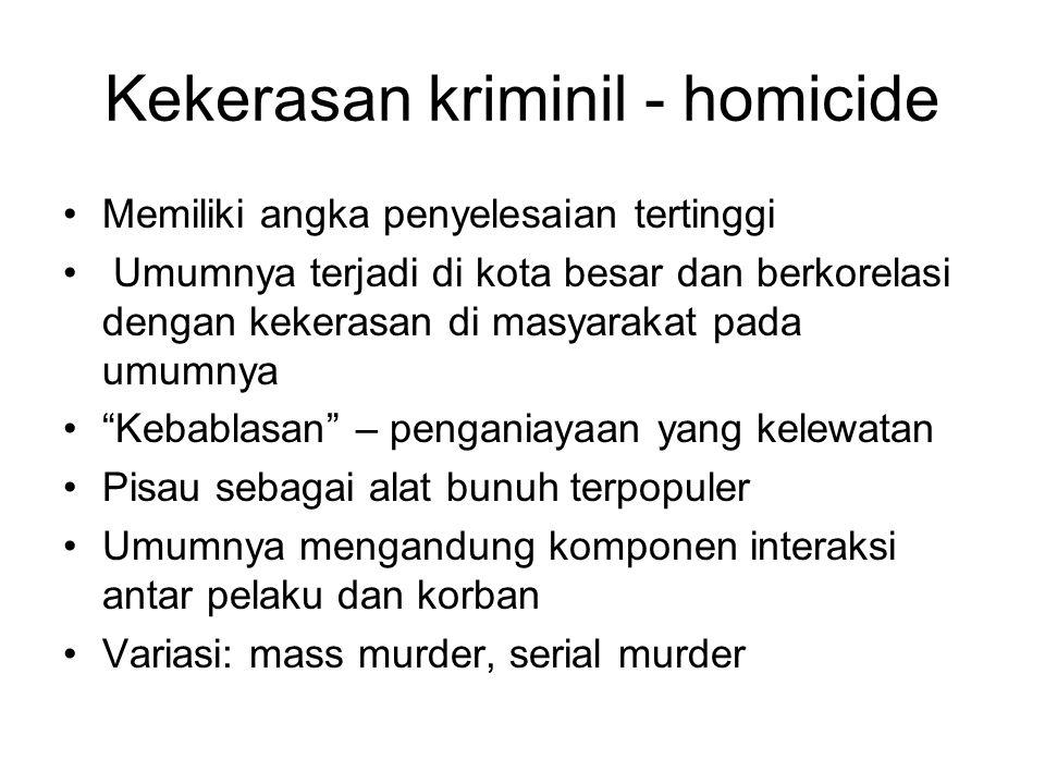 Kekerasan kriminil - homicide Memiliki angka penyelesaian tertinggi Umumnya terjadi di kota besar dan berkorelasi dengan kekerasan di masyarakat pada