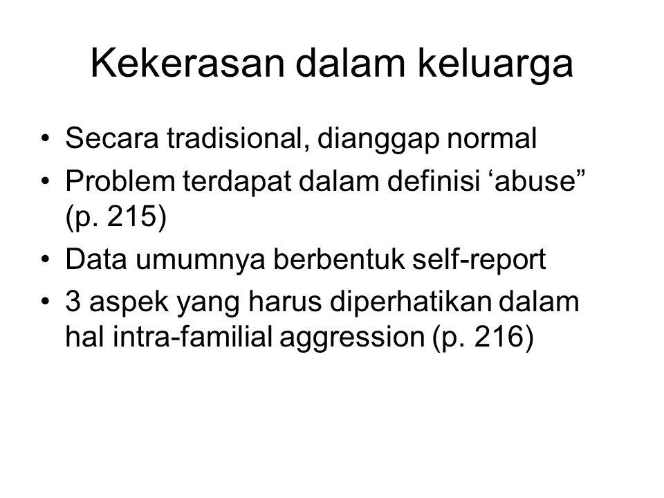 """Kekerasan dalam keluarga Secara tradisional, dianggap normal Problem terdapat dalam definisi 'abuse"""" (p. 215) Data umumnya berbentuk self-report 3 asp"""