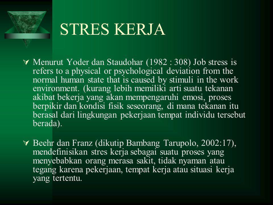 STRES KERJA  Menurut Yoder dan Staudohar (1982 : 308) Job stress is refers to a physical or psychological deviation from the normal human state that