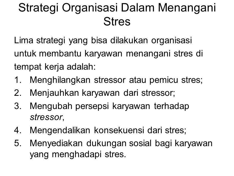 Strategi Organisasi Dalam Menangani Stres Lima strategi yang bisa dilakukan organisasi untuk membantu karyawan menangani stres di tempat kerja adalah: