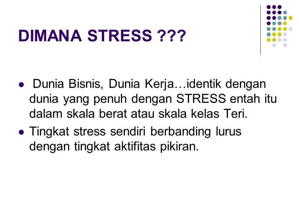 DIMANA STRESS ??? Dunia Bisnis, Dunia Kerja…identik dengan dunia yang penuh dengan STRESS entah itu dalam skala berat atau skala kelas Teri. Tingkat s