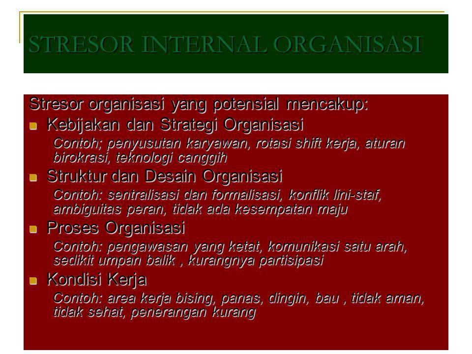 Stresor organisasi yang potensial mencakup: Kebijakan dan Strategi Organisasi Kebijakan dan Strategi Organisasi Contoh; penyusutan karyawan, rotasi sh