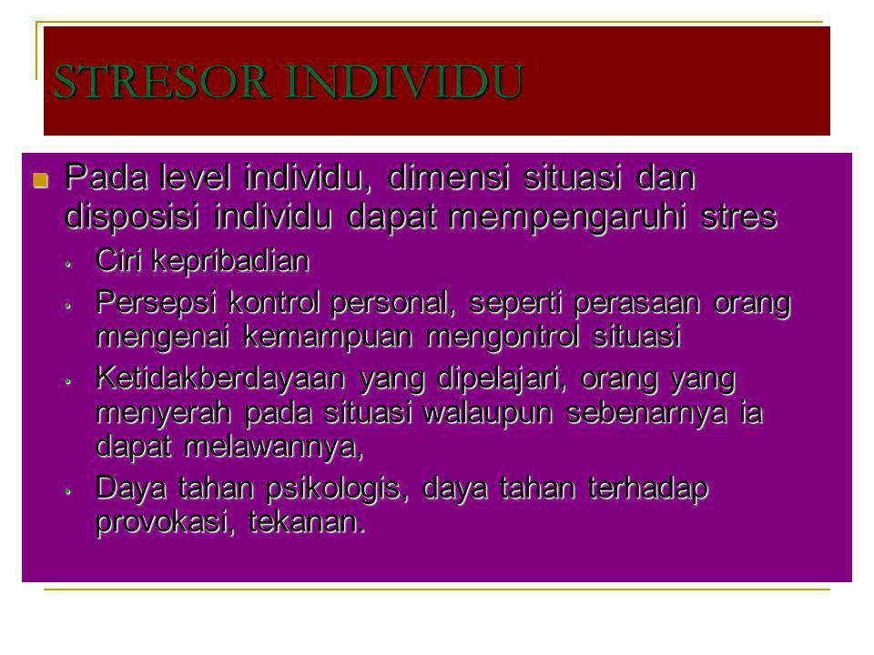 Pada level individu, dimensi situasi dan disposisi individu dapat mempengaruhi stres Pada level individu, dimensi situasi dan disposisi individu dapat
