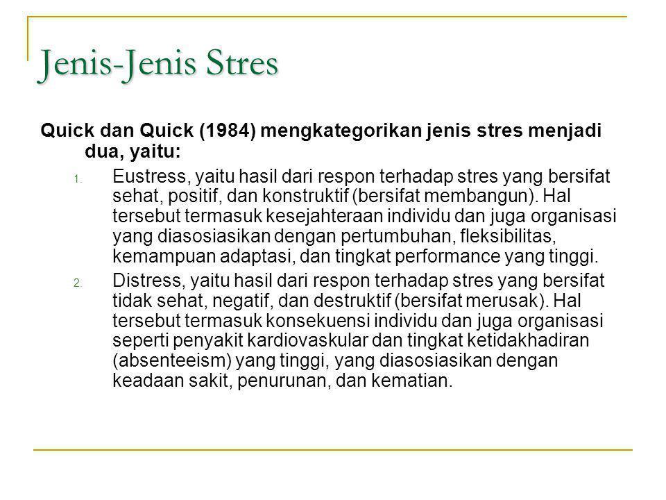 Jenis-Jenis Stres Quick dan Quick (1984) mengkategorikan jenis stres menjadi dua, yaitu: 1. Eustress, yaitu hasil dari respon terhadap stres yang bers