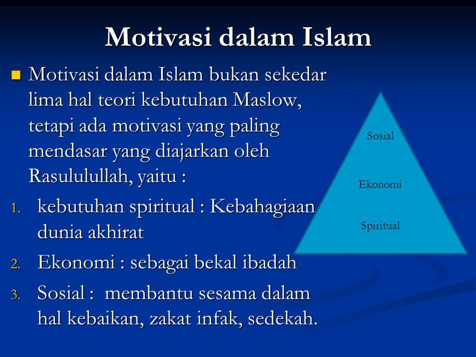 Motivasi dalam Islam Motivasi dalam Islam bukan sekedar lima hal teori kebutuhan Maslow, tetapi ada motivasi yang paling mendasar yang diajarkan oleh Rasululullah, yaitu : Motivasi dalam Islam bukan sekedar lima hal teori kebutuhan Maslow, tetapi ada motivasi yang paling mendasar yang diajarkan oleh Rasululullah, yaitu : 1.