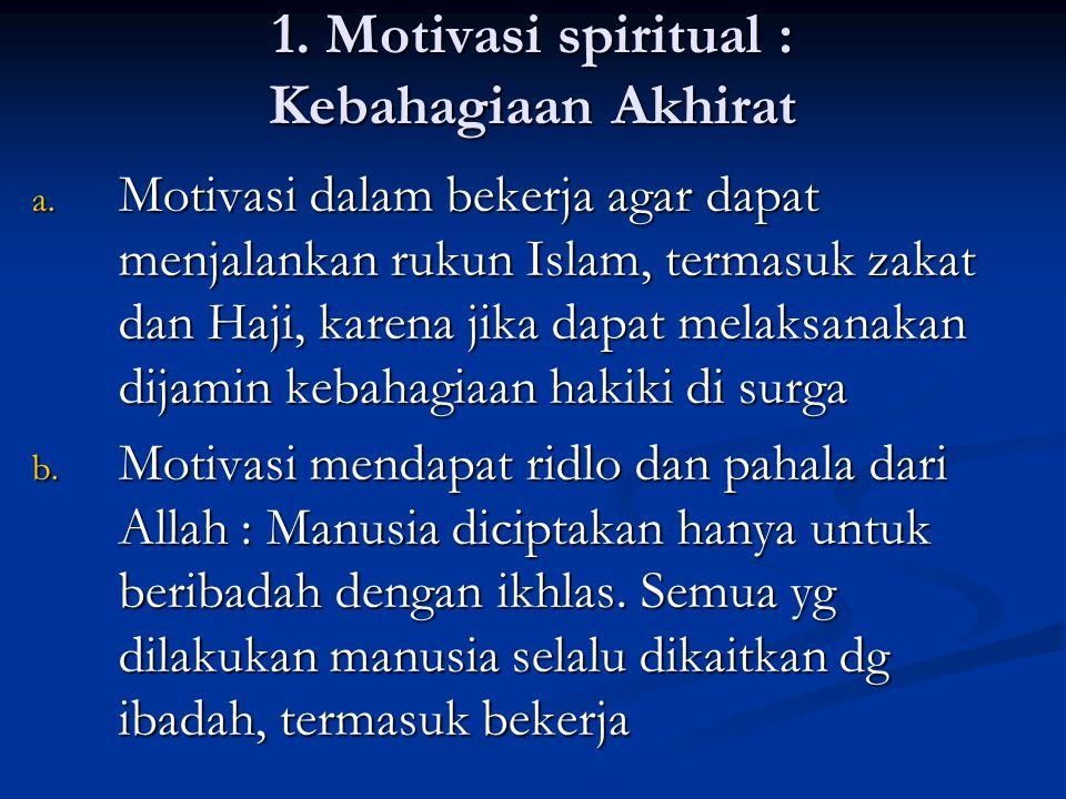 1.Motivasi spiritual : Kebahagiaan Akhirat a.