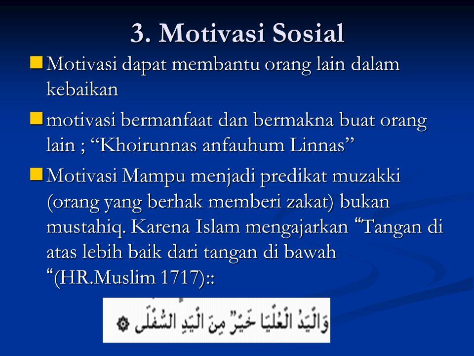 3. Motivasi Sosial Motivasi dapat membantu orang lain dalam kebaikan Motivasi dapat membantu orang lain dalam kebaikan motivasi bermanfaat dan bermakn