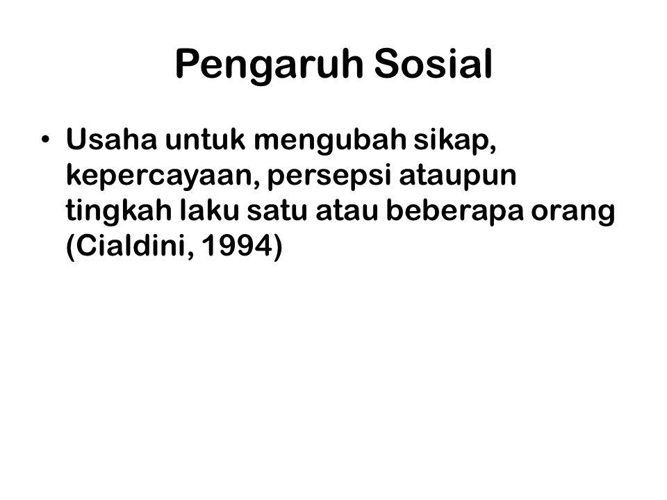 Pengaruh Sosial Usaha untuk mengubah sikap, kepercayaan, persepsi ataupun tingkah laku satu atau beberapa orang (Cialdini, 1994)