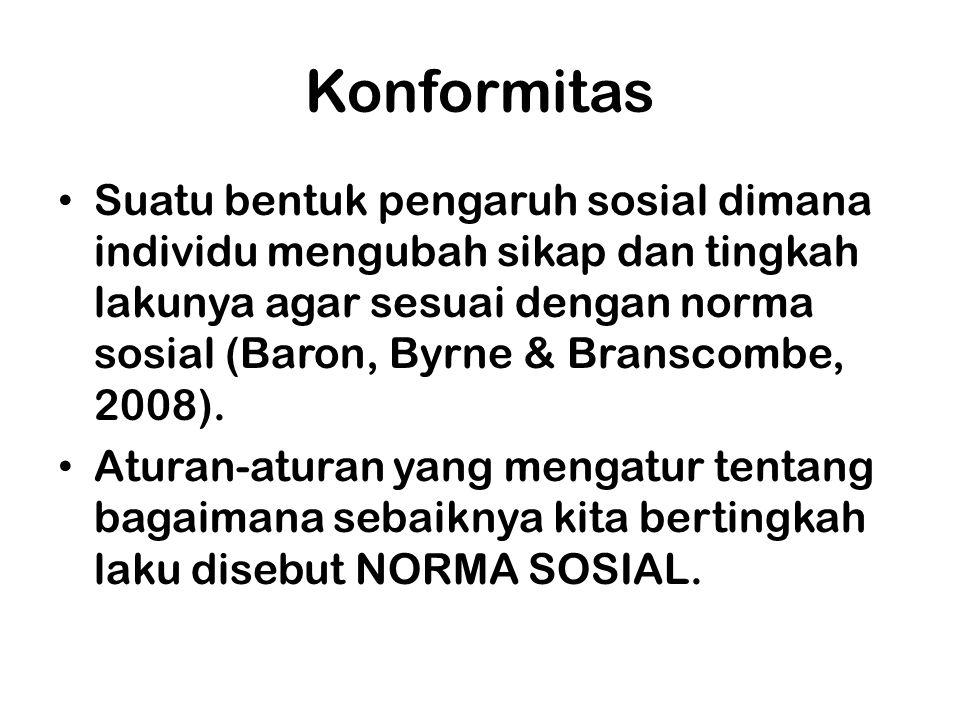 Konformitas Suatu bentuk pengaruh sosial dimana individu mengubah sikap dan tingkah lakunya agar sesuai dengan norma sosial (Baron, Byrne & Branscombe