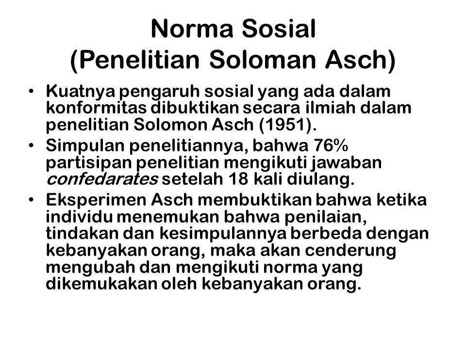 Norma Sosial (Penelitian Soloman Asch) Kuatnya pengaruh sosial yang ada dalam konformitas dibuktikan secara ilmiah dalam penelitian Solomon Asch (1951