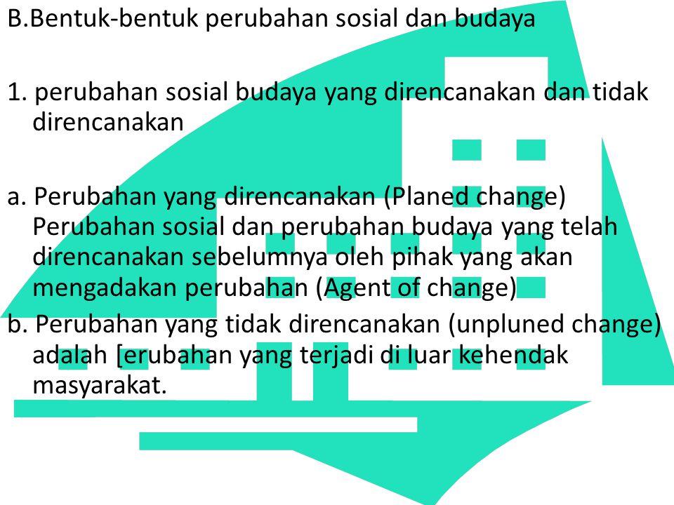 B.Bentuk-bentuk perubahan sosial dan budaya 1. perubahan sosial budaya yang direncanakan dan tidak direncanakan a. Perubahan yang direncanakan (Planed