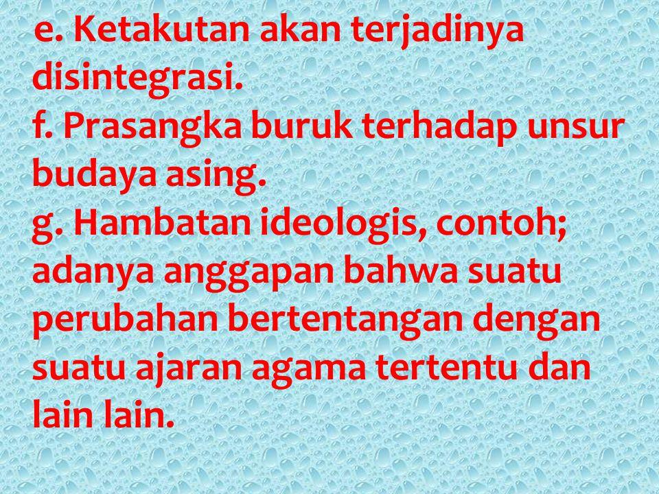 Faktor Penghambat Perubahan Sosial Budaya : a.Kurangnya hubungan terhadap masyarakat lain, contoh; Suku-suku bangsa yang masih dipedalaman. b. Pendidi