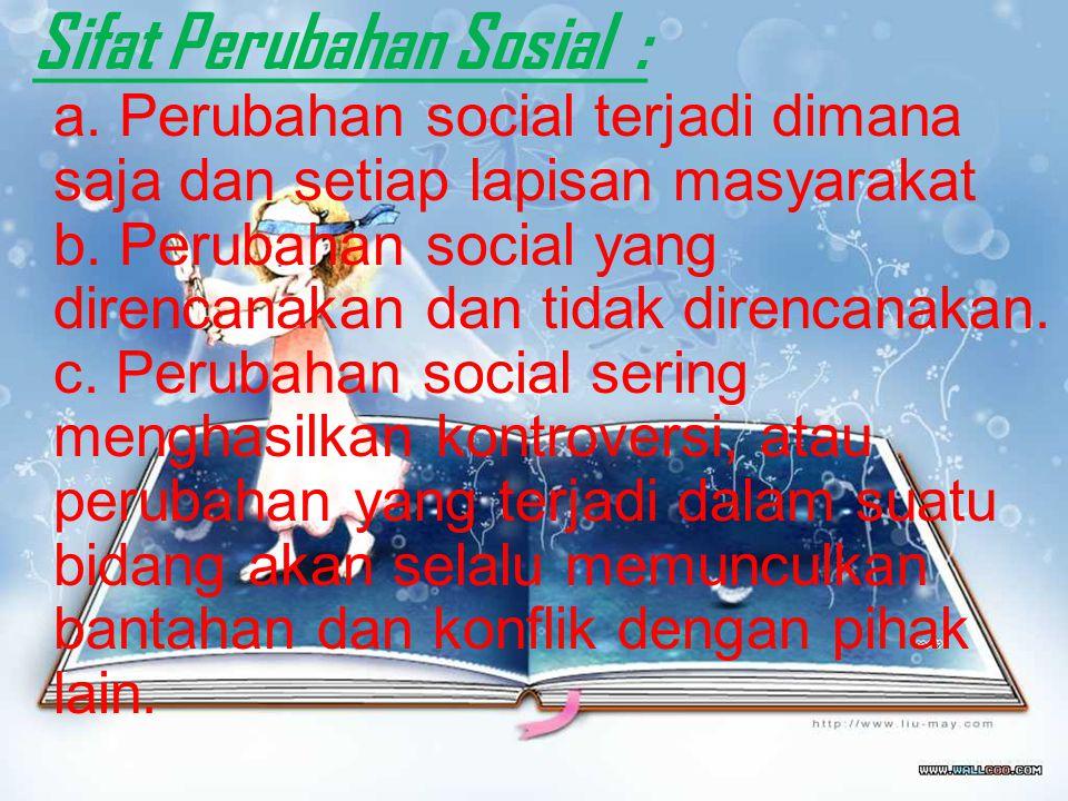 Perubahan sosial budaya terjadi karena beberapa faktor. Di antaranya komunikasi cara dan pola pikir masyarakat faktor internal lain seperti perubahan