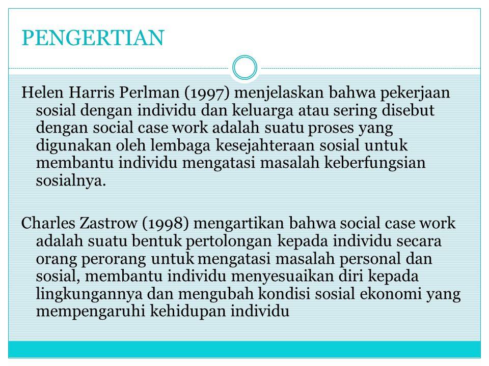 PENGERTIAN Helen Harris Perlman (1997) menjelaskan bahwa pekerjaan sosial dengan individu dan keluarga atau sering disebut dengan social case work adalah suatu proses yang digunakan oleh lembaga kesejahteraan sosial untuk membantu individu mengatasi masalah keberfungsian sosialnya.