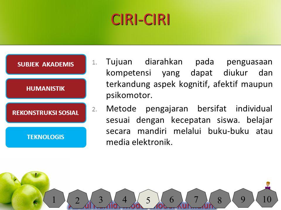 CIRI-CIRI 1. Tujuan diarahkan pada penguasaan kompetensi yang dapat diukur dan terkandung aspek kognitif, afektif maupun psikomotor. 2. Metode pengaja