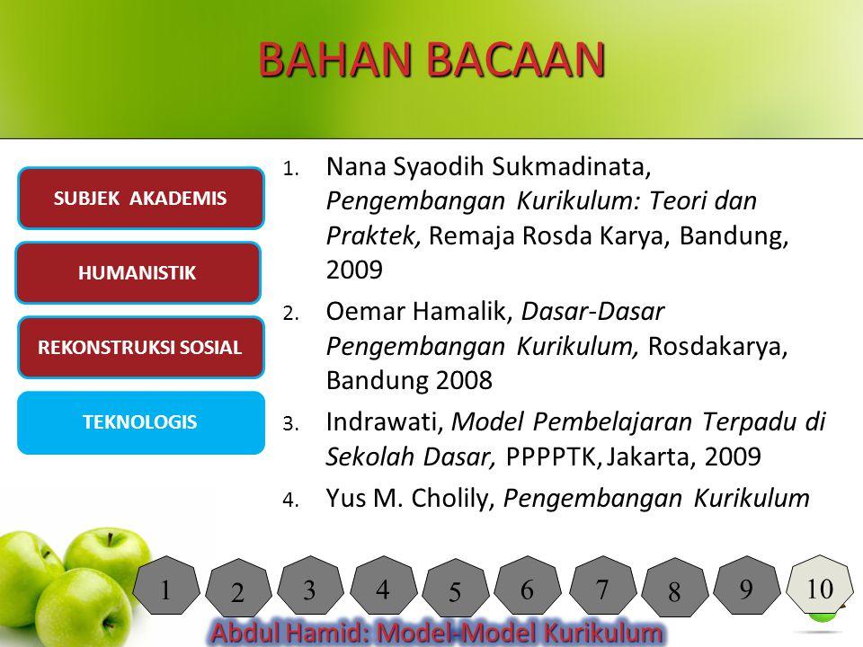 BAHAN BACAAN 1. Nana Syaodih Sukmadinata, Pengembangan Kurikulum: Teori dan Praktek, Remaja Rosda Karya, Bandung, 2009 2. Oemar Hamalik, Dasar-Dasar P