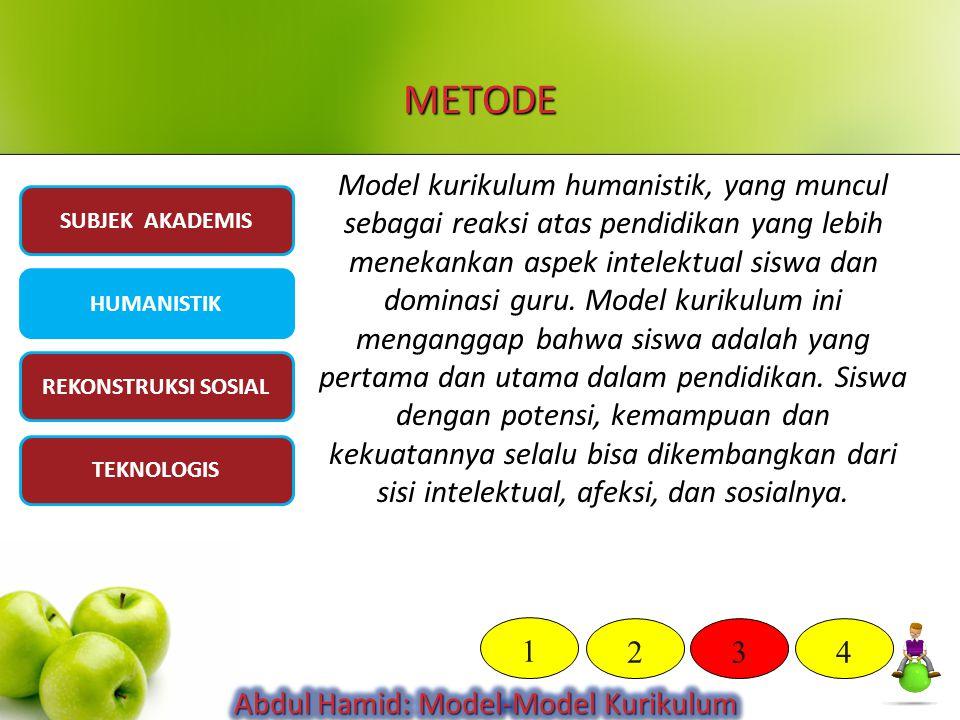 METODE Model kurikulum humanistik, yang muncul sebagai reaksi atas pendidikan yang lebih menekankan aspek intelektual siswa dan dominasi guru. Model k