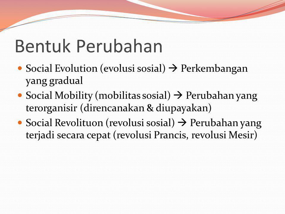 Bentuk Perubahan Social Evolution (evolusi sosial)  Perkembangan yang gradual Social Mobility (mobilitas sosial)  Perubahan yang terorganisir (direncanakan & diupayakan) Social Revolituon (revolusi sosial)  Perubahan yang terjadi secara cepat (revolusi Prancis, revolusi Mesir)