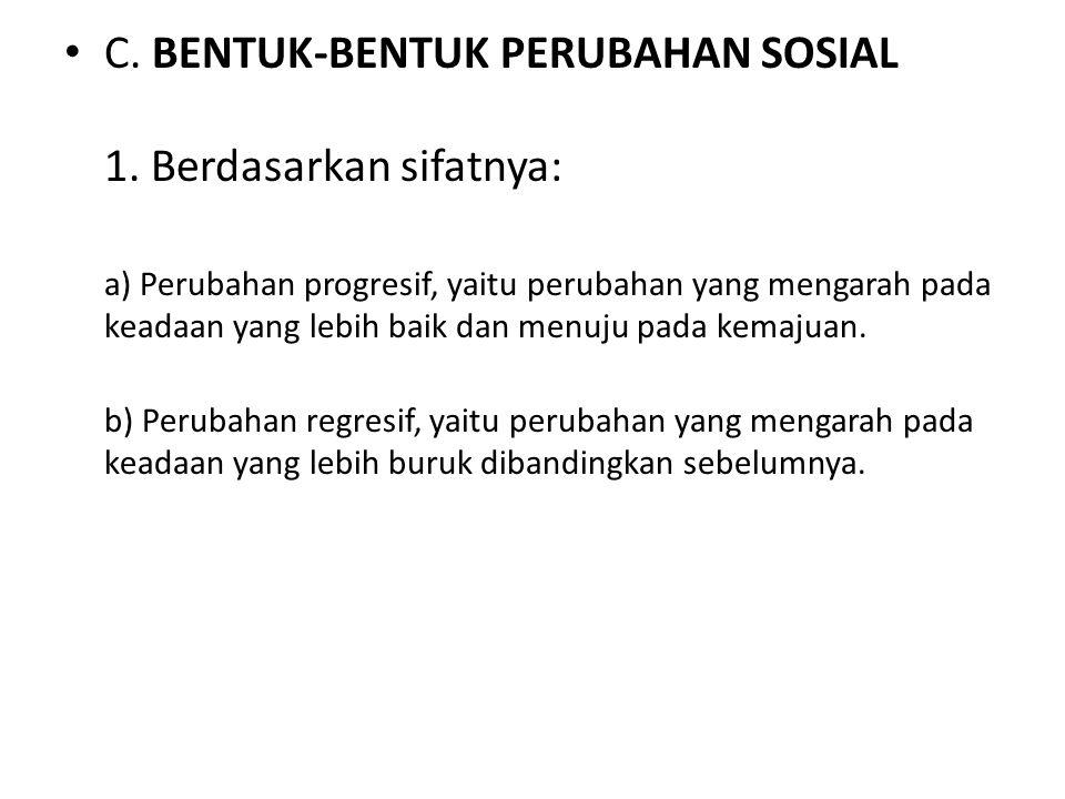 C.BENTUK-BENTUK PERUBAHAN SOSIAL 1.