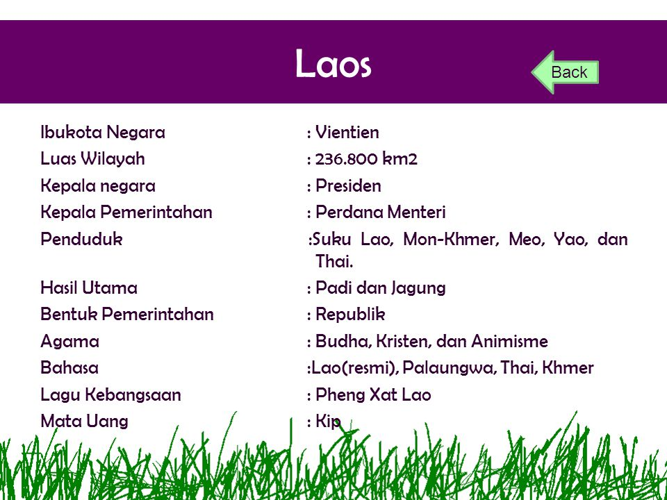 Laos Ibukota Negara: Vientien Luas Wilayah: 236.800 km2 Kepala negara: Presiden Kepala Pemerintahan: Perdana Menteri Penduduk :Suku Lao, Mon-Khmer, Me