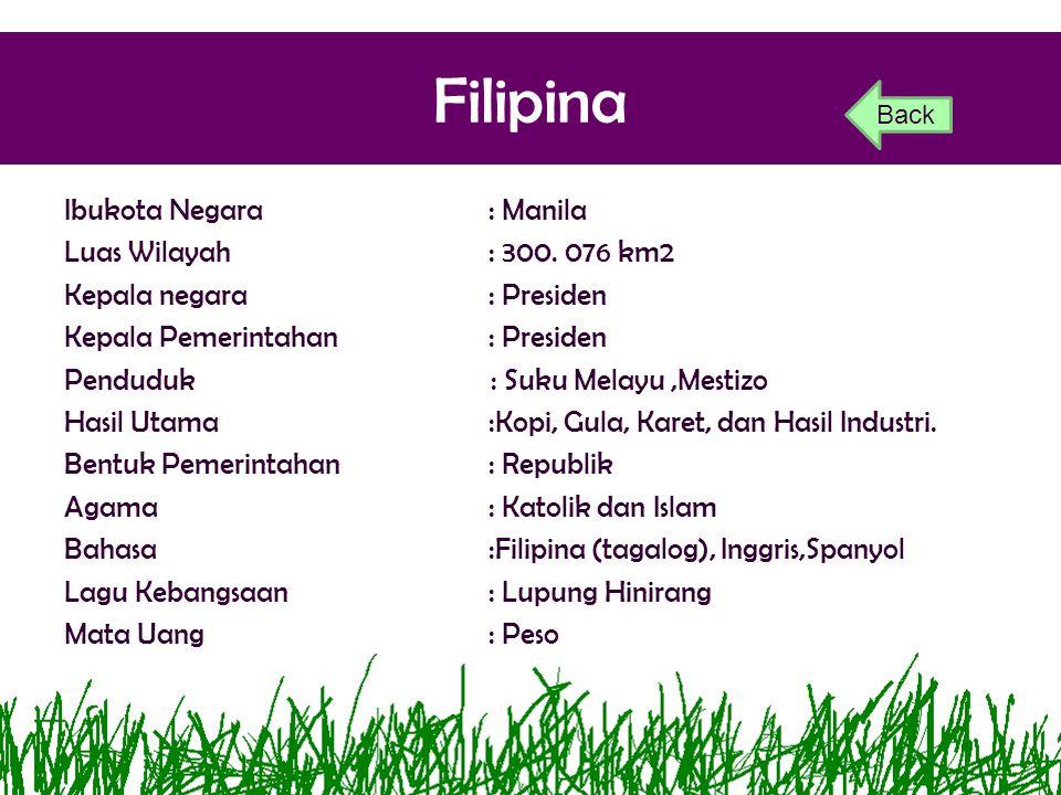 Filipina Ibukota Negara: Manila Luas Wilayah: 300. 076 km2 Kepala negara: Presiden Kepala Pemerintahan: Presiden Penduduk : Suku Melayu,Mestizo Hasil