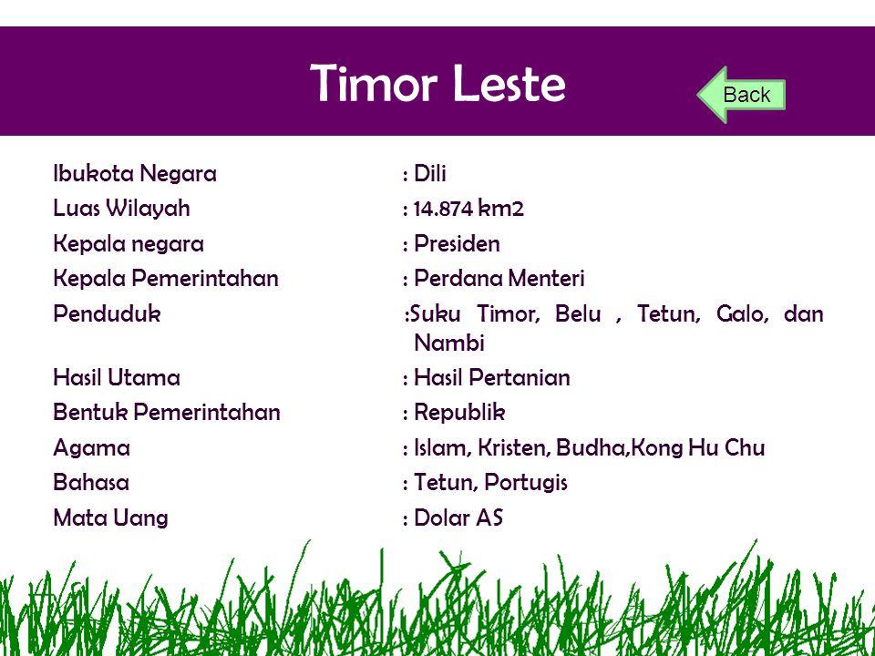 Timor Leste Ibukota Negara: Dili Luas Wilayah: 14.874 km2 Kepala negara: Presiden Kepala Pemerintahan: Perdana Menteri Penduduk :Suku Timor, Belu, Tet