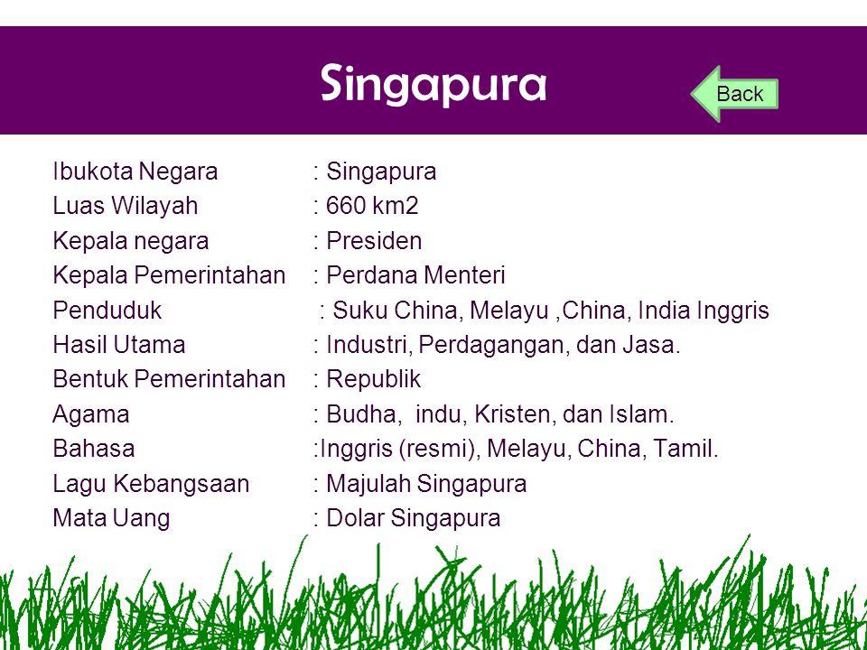 Singapura Ibukota Negara: Singapura Luas Wilayah: 660 km2 Kepala negara: Presiden Kepala Pemerintahan: Perdana Menteri Penduduk: Suku China, Melayu,Ch