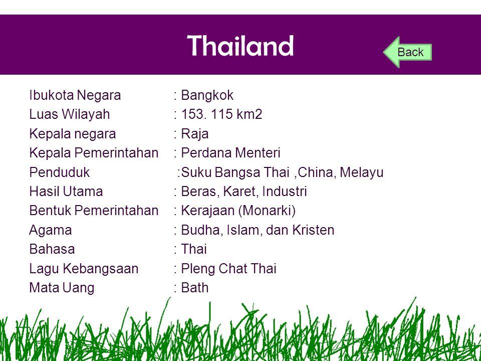 Thailand Ibukota Negara: Bangkok Luas Wilayah: 153. 115 km2 Kepala negara: Raja Kepala Pemerintahan: Perdana Menteri Penduduk:Suku Bangsa Thai,China,