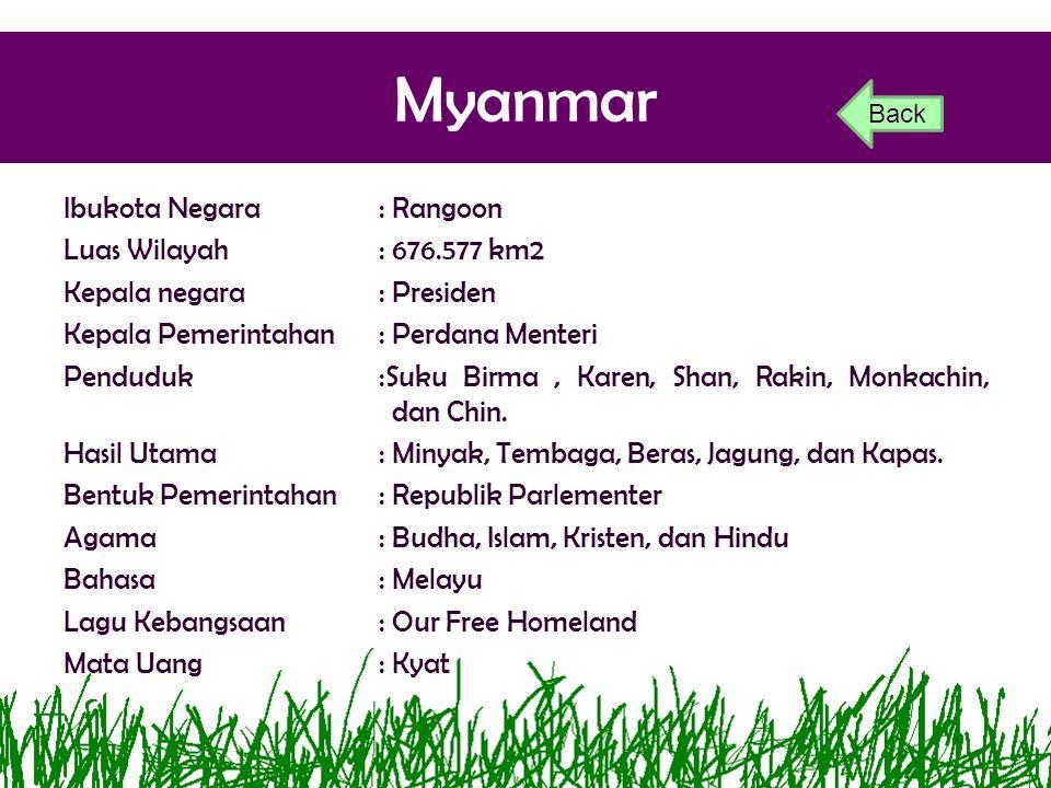 Myanmar Ibukota Negara: Rangoon Luas Wilayah: 676.577 km2 Kepala negara: Presiden Kepala Pemerintahan: Perdana Menteri Penduduk:Suku Birma, Karen, Sha
