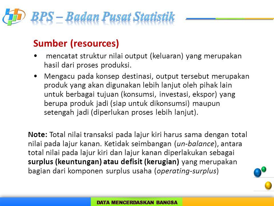 Sumber (resources) mencatat struktur nilai output (keluaran) yang merupakan hasil dari proses produksi. Mengacu pada konsep destinasi, output tersebut