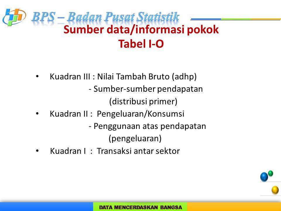 Sumber data/informasi pokok Tabel I-O Kuadran III : Nilai Tambah Bruto (adhp) - Sumber-sumber pendapatan (distribusi primer) Kuadran II : Pengeluaran/