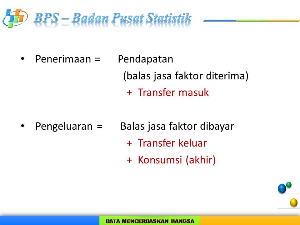 Penerimaan =Pendapatan (balas jasa faktor diterima) + Transfer masuk Pengeluaran = Balas jasa faktor dibayar + Transfer keluar + Konsumsi (akhir)