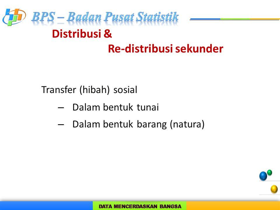 Distribusi & Re-distribusi sekunder Transfer (hibah) sosial – Dalam bentuk tunai – Dalam bentuk barang (natura)