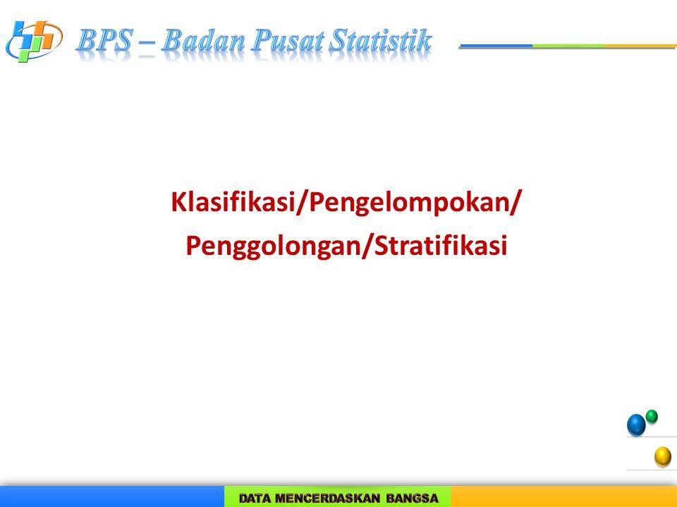 Klasifikasi/Pengelompokan/ Penggolongan/Stratifikasi