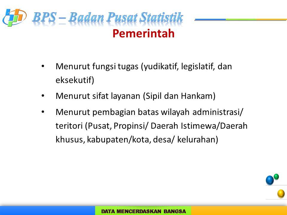 Pemerintah Menurut fungsi tugas (yudikatif, legislatif, dan eksekutif) Menurut sifat layanan (Sipil dan Hankam) Menurut pembagian batas wilayah admini