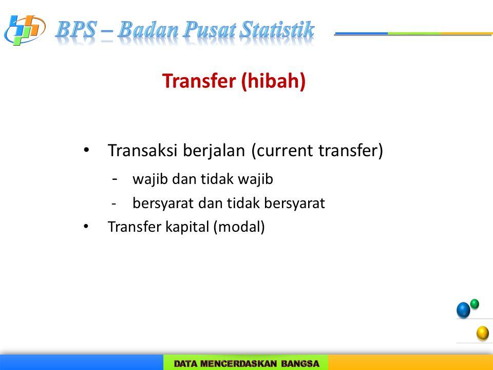 Transfer (hibah) Transaksi berjalan (current transfer) - wajib dan tidak wajib - bersyarat dan tidak bersyarat Transfer kapital (modal)