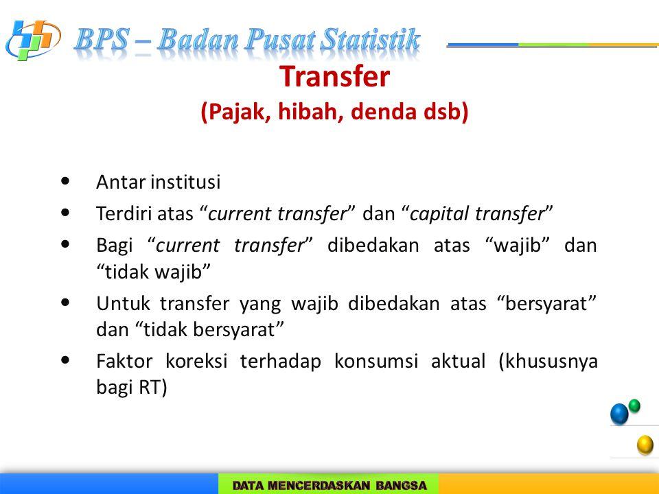 """Transfer (Pajak, hibah, denda dsb) Antar institusi Terdiri atas """"current transfer"""" dan """"capital transfer"""" Bagi """"current transfer"""" dibedakan atas """"waji"""