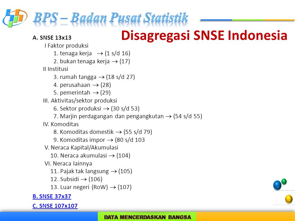 Disagregasi SNSE Indonesia A. SNSE 13x13 I Faktor produksi 1. tenaga kerja  (1 s/d 16) 2. bukan tenaga kerja  (17) II Institusi 3. rumah tangga  (1