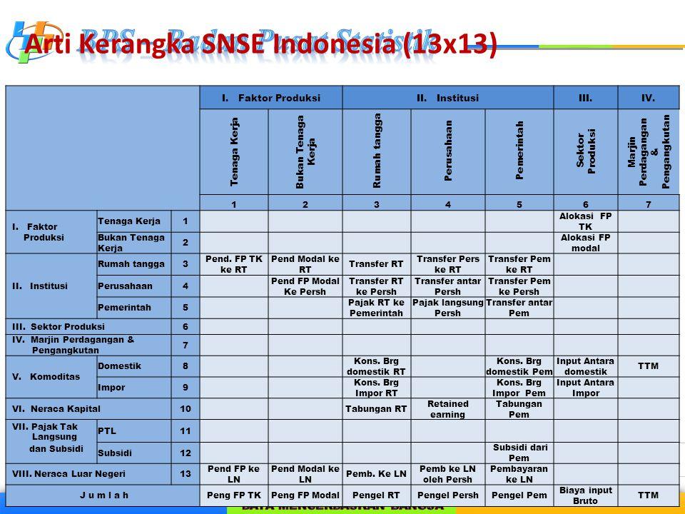 Arti Kerangka SNSE Indonesia (13x13) I. Faktor ProduksiII. InstitusiIII.IV. Tenaga Kerja Bukan Tenaga Kerja Rumah tangga Perusahaan Pemerintah Sektor