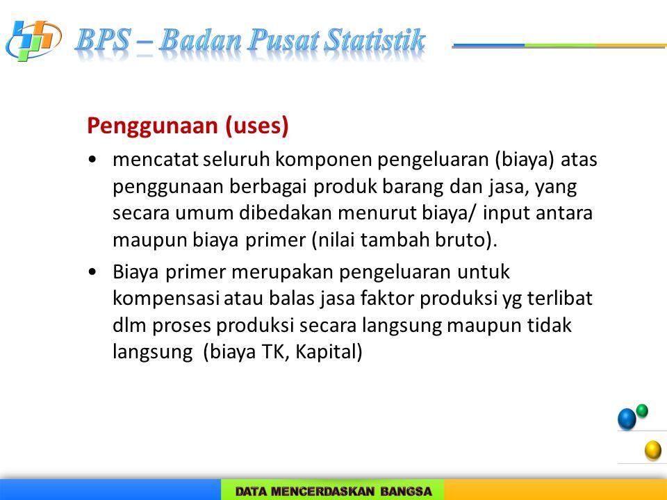 Penggunaan (uses) mencatat seluruh komponen pengeluaran (biaya) atas penggunaan berbagai produk barang dan jasa, yang secara umum dibedakan menurut bi